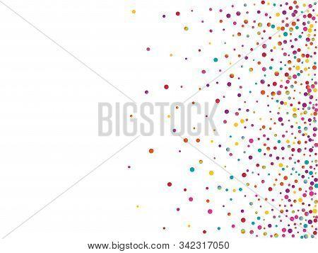 White Fallingfestive Splash Postcard. Color Celebration Circle Backdrop. Carnaval Texture. Carnaval