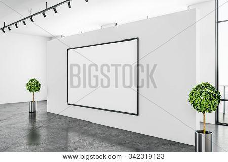 Contemporary White Gallery Interior With Empty Billboard