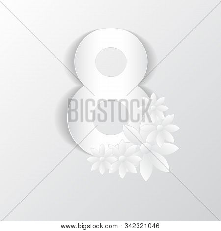 8 March. Decorative Design Element For Reeting Card In The Style Of Paper Applique On Gray Backgroun