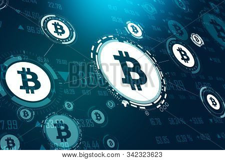 Glowing Blue Bitcoin Interface In Blurry Dark Background. Cryptography And Cryptocurrency Concept. 3