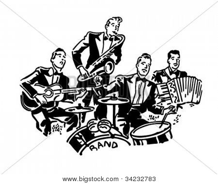 Musikalische Gruppe - Retro Clipart Illustration