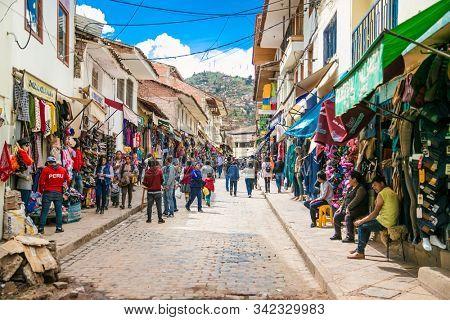 Cusco , Peru- Jan 9, 2019:  People at street market in the historic city of Cusco ,  Peru.