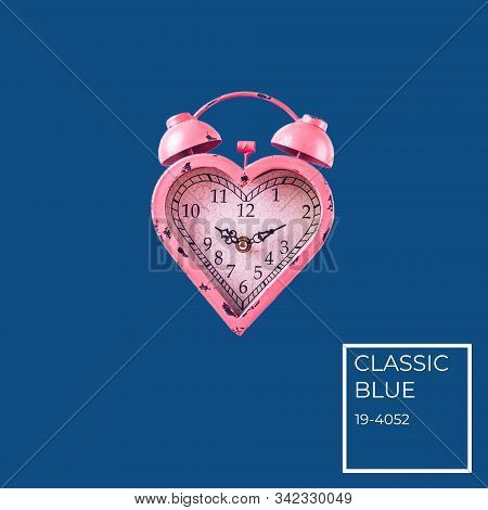 Heart Shaped Pink Clock On Classic Blue Background. Valentines Day And Love Infitity And Duration Co