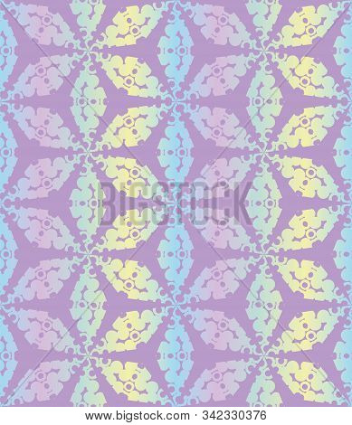 A Seamless Vector Tessellation Pattern In Iridescent Pastel Gradient. Decorative Abstract Surface Pr