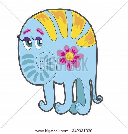 Cute Cartoon Blue Monster. Illustration For Prints On Baby Clothes.