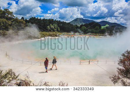 Wai-o-tapu, Rotorua, New Zealand - November 1st 2016: Tourists Walking Around The Colorful Champagne