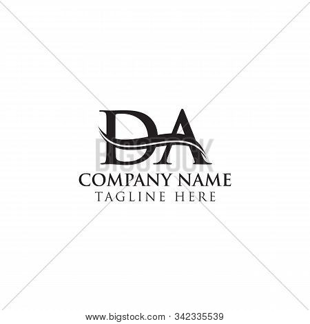 Initial Da Letter Logo Design Vector With Blue And Grey Colors. Da Logo Design