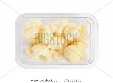 Frozen Cauliflower Florets In Plastic Container Isolated On White, Top View. Vegetable Preservation