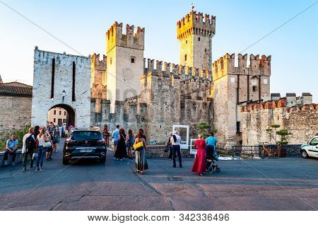 Sirmione, Lombardy, Italy - September 12, 2019: The Scaligero Castle Is A Fortress From The Scaliger