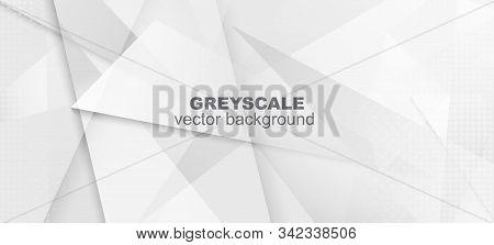 Halftone Minimal Gray Vector Background. Dots Pop Art Light Texture. Halftone Wallpaper. Dynamic Fad