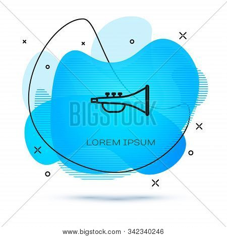 Line Musical Instrument Trumpet Icon Isolated On White Background. Abstract Banner With Liquid Shape