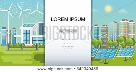Flat Eco City Colorful Template With Modern Buildings Ecology Houses Wind Turbines Solar Panels Gree