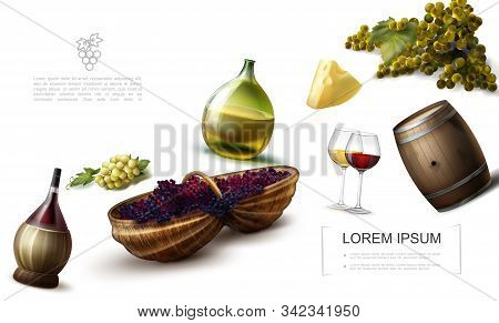 Realistic Grape Colorful Template With Bottles And Glasses Of Wine Cheese Wooden Barrel Bunches Of W