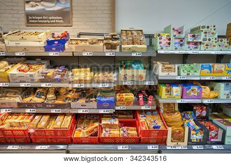 BERLIN, GERMANY - CIRCA SEPTEMBER, 2019: interior shot of Penny supermarket in Berlin. Penny is a discount supermarket chain based in Germany.