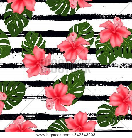 Red Hibiscus Flowers Monstera Leaves Tropical Seamless Pattern For Fabric Print. Exotic Floral Wallp