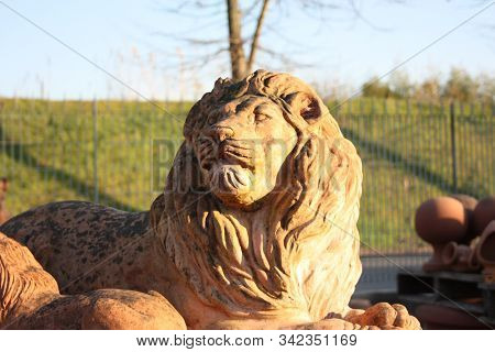 Gigantic Representation Of The King Of The Forest That Is A Lion With A Long Mane Created Entirely I