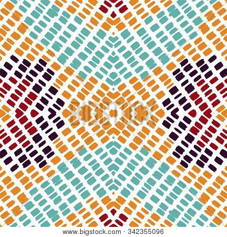 Crimson Psychedelic Tie Dye. Red Batik Vector Seamless Pattern. Aztec Tie Dye Fashion Texture. Marin