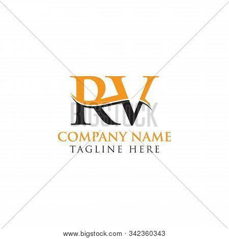 Swoosh Letter Rv Logo Design Vector Template. Rv Letter Logo Design.