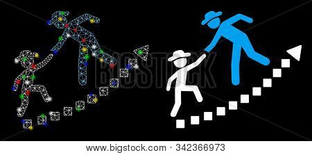 Glossy Mesh Gentlemen Education Growth Icon With Sparkle Effect. Abstract Illuminated Model Of Gentl