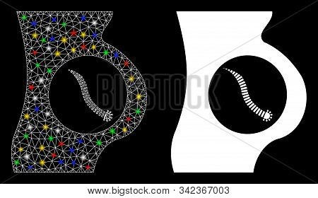 Glossy Mesh Intestinal Parasite Icon With Glitter Effect. Abstract Illuminated Model Of Intestinal P