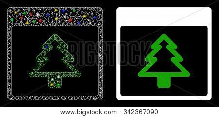 Glowing Mesh Fir Tree Calendar Page Icon With Sparkle Effect. Abstract Illuminated Model Of Fir Tree