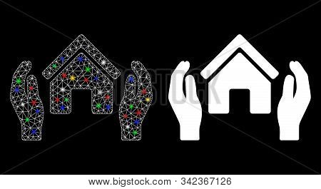 Glossy Mesh Realty Insurance Hands Icon With Lightspot Effect. Abstract Illuminated Model Of Realty
