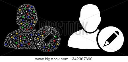 Glowing Mesh Edit User Icon With Glare Effect. Abstract Illuminated Model Of Edit User. Shiny Wire C