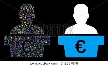 Flare Mesh Euro Politician Icon With Glare Effect. Abstract Illuminated Model Of Euro Politician. Sh