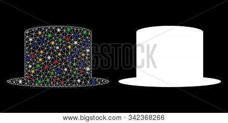 Flare Mesh Gentleman Hat Icon With Glitter Effect. Abstract Illuminated Model Of Gentleman Hat. Shin