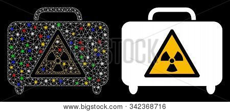 Glowing Mesh Dangerous Luggage Icon With Glow Effect. Abstract Illuminated Model Of Dangerous Luggag