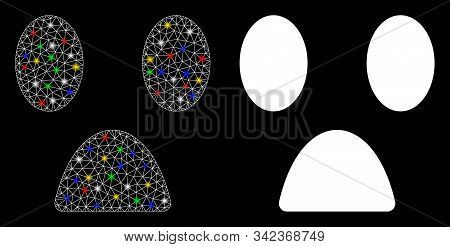 Glossy Mesh Fear Smiley Icon With Glitter Effect. Abstract Illuminated Model Of Fear Smiley. Shiny W
