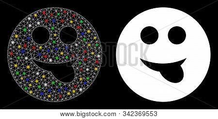 Bright Mesh Tongue Smiley Icon With Glare Effect. Abstract Illuminated Model Of Tongue Smiley. Shiny