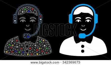 Bright Mesh Call Center Operator Icon With Glitter Effect. Abstract Illuminated Model Of Call Center