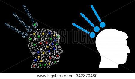 Bright Mesh Head Test Connectors Icon With Glitter Effect. Abstract Illuminated Model Of Head Test C