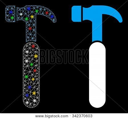 Glowing Mesh Claw Hammer Icon With Lightspot Effect. Abstract Illuminated Model Of Claw Hammer. Shin