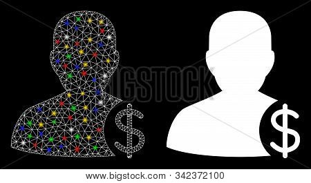 Flare Mesh Dollar Account Client Icon With Sparkle Effect. Abstract Illuminated Model Of Dollar Acco