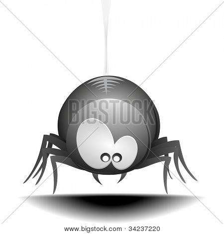 illustration of a cute cartoon style spider hanging on a cobweb