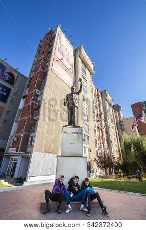 Prishtina, Kosovo - November 11, 2016: Bill Clinton Statue On Bill Klinton Boulevard With Kosovan Yo