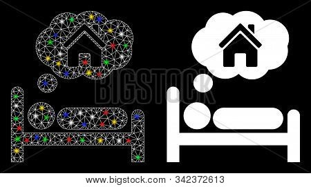 Glossy Mesh House Dreams Icon With Glare Effect. Abstract Illuminated Model Of House Dreams. Shiny W