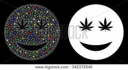 Glossy Mesh Cannabis Smiley Smile Icon With Sparkle Effect. Abstract Illuminated Model Of Cannabis S