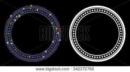 Glossy Mesh Dotted Round Frame Icon With Sparkle Effect. Abstract Illuminated Model Of Dotted Round