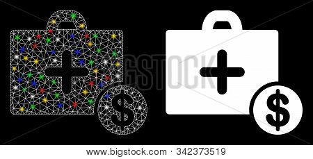 Flare Mesh Commercial Medicine Case Icon With Glow Effect. Abstract Illuminated Model Of Commercial