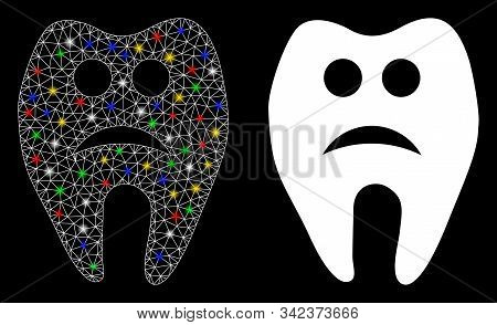 Glossy Mesh Sad Tooth Icon With Sparkle Effect. Abstract Illuminated Model Of Sad Tooth. Shiny Wire
