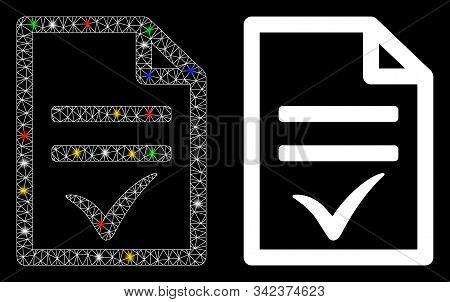 Flare Mesh Agreement Document Icon With Glow Effect. Abstract Illuminated Model Of Agreement Documen
