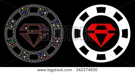 Glossy Mesh Ruby Casino Chip Icon With Glow Effect. Abstract Illuminated Model Of Ruby Casino Chip.
