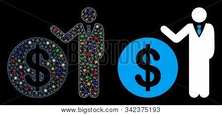 Glossy Mesh Banker Icon With Lightspot Effect. Abstract Illuminated Model Of Banker. Shiny Wire Fram