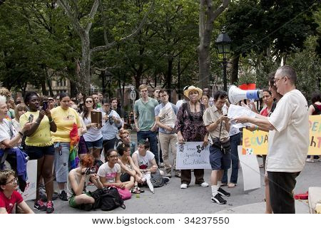 NEW YORK - JUNE 22: Jay Toole speaks to the audience of supporters in Washington Square Park during the 8th Annual Trans Day of Action on June 22, 2012 in New York City.
