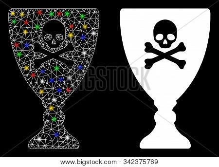 Flare Mesh Poison Cup Icon With Glitter Effect. Abstract Illuminated Model Of Poison Cup. Shiny Wire