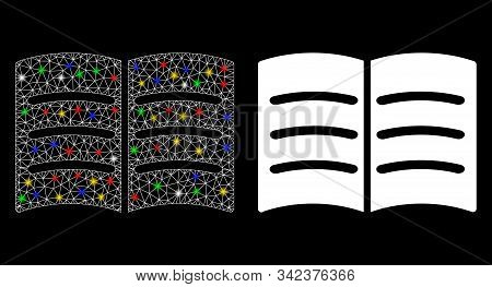 Flare Mesh Open Book Icon With Glare Effect. Abstract Illuminated Model Of Open Book. Shiny Wire Car