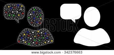 Glowing Mesh User Opinion Icon With Glitter Effect. Abstract Illuminated Model Of User Opinion. Shin